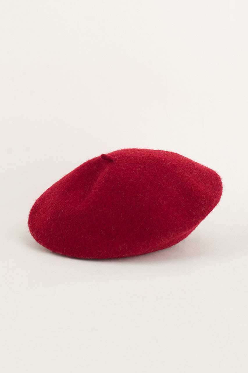 19 Wool Beret, Cherry Red