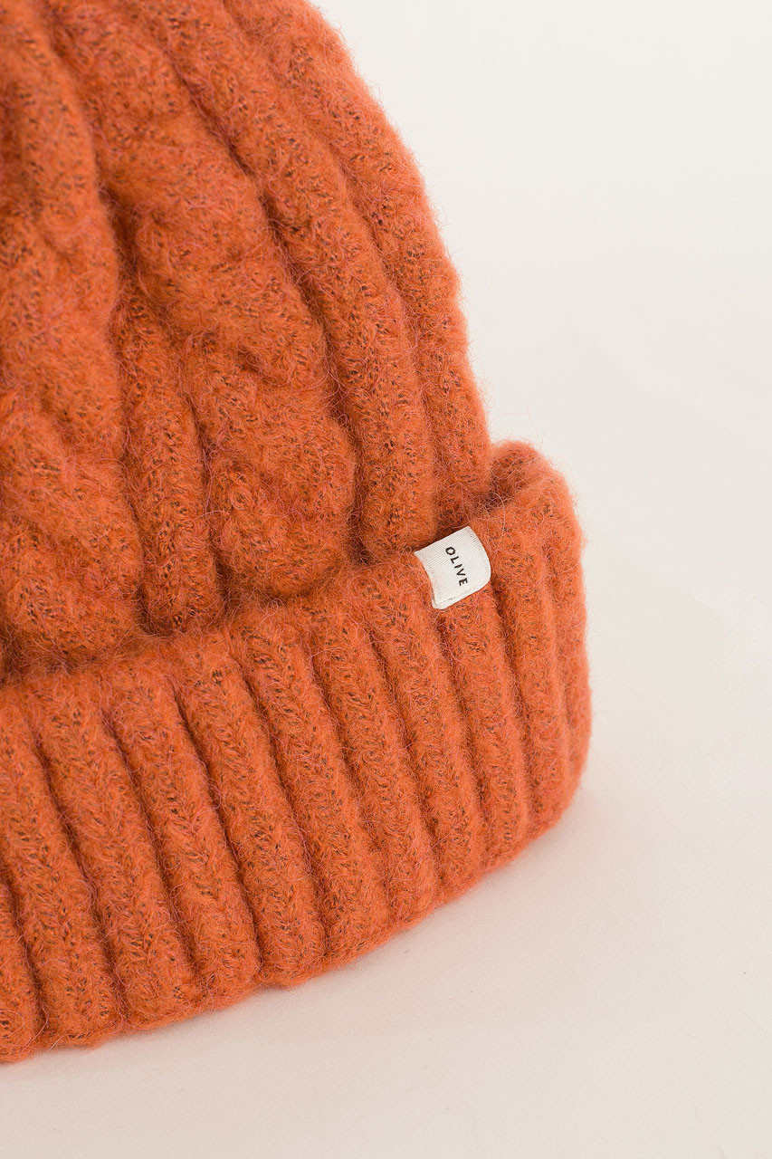 Cable Beanie, Orange