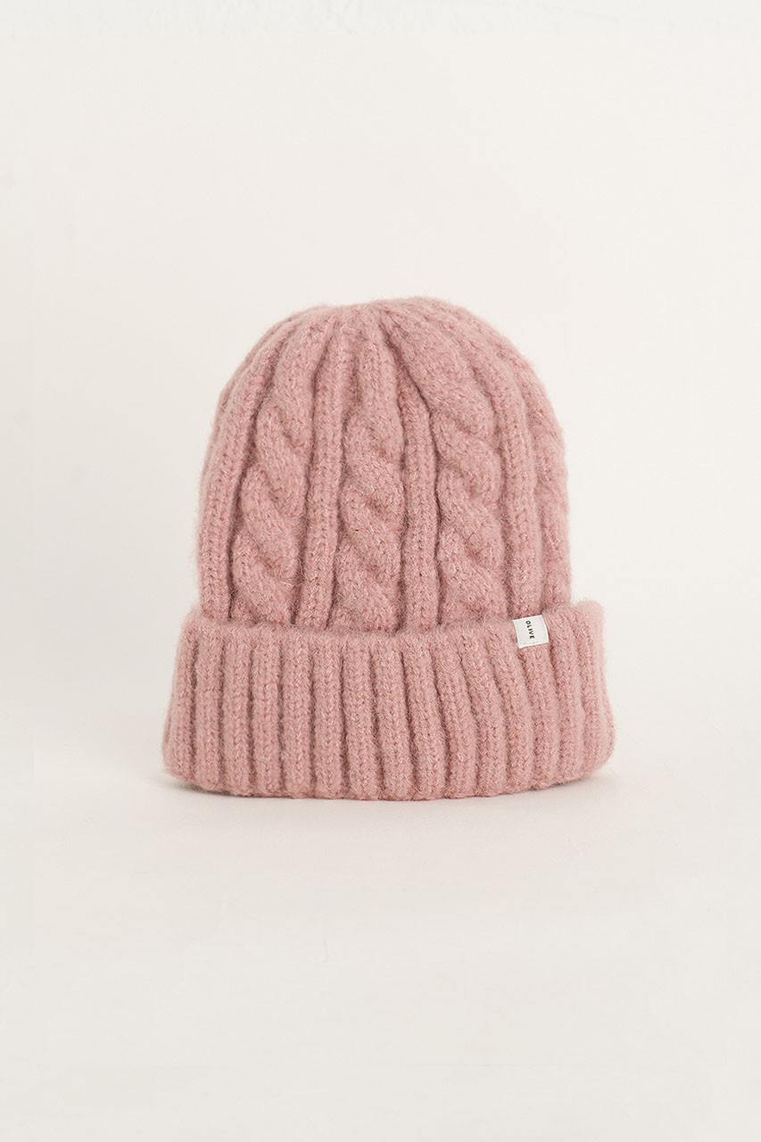 Cable Beanie, Dusty Pink