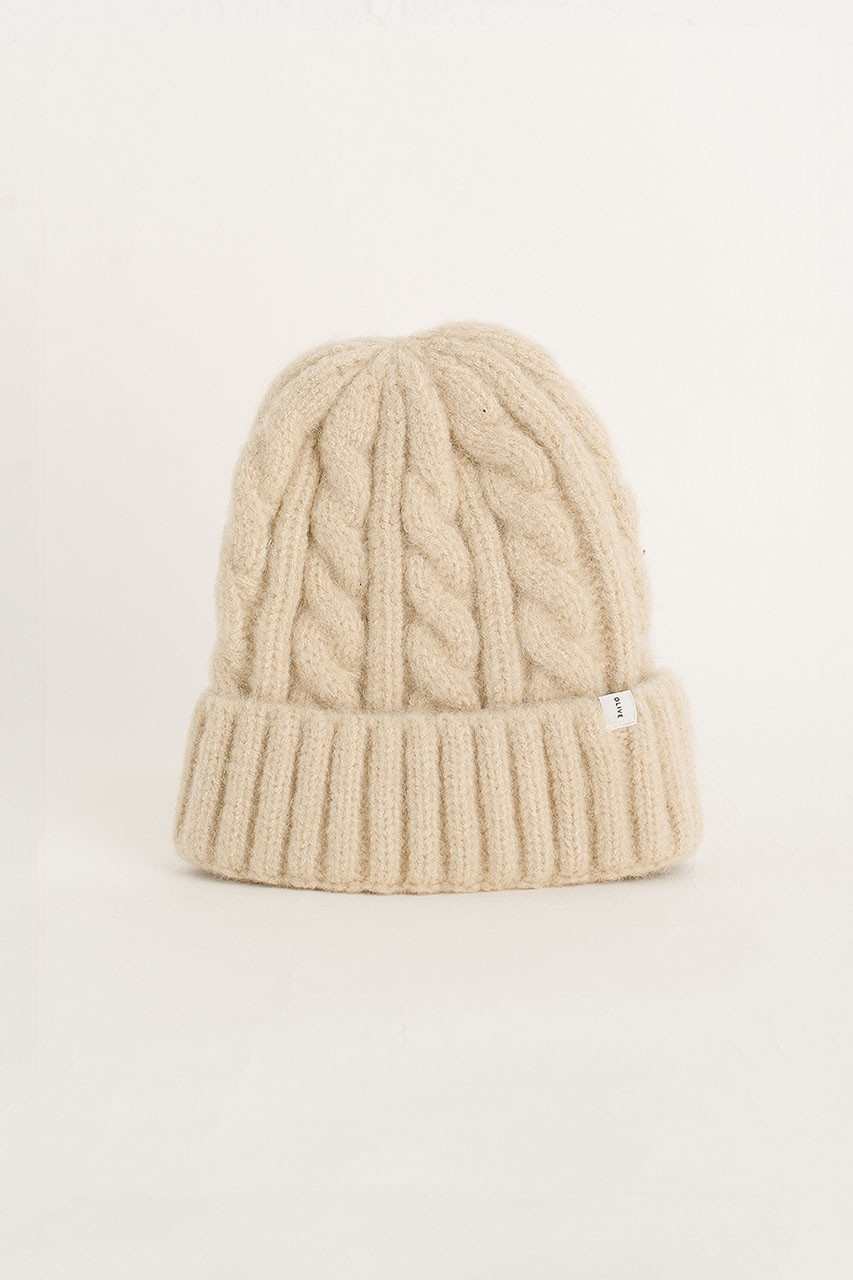 Cable Beanie, Ivory