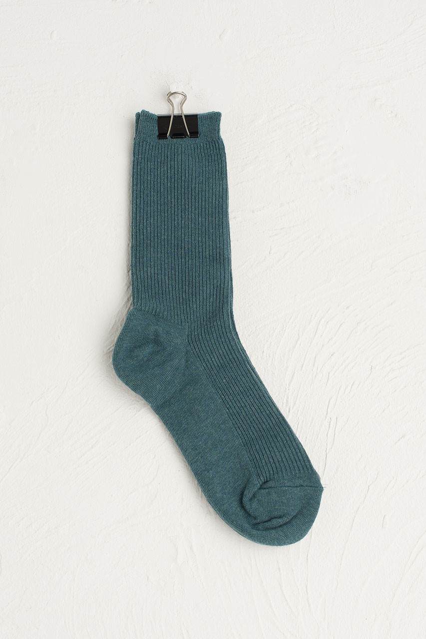 R Ribbed Socks, Teal