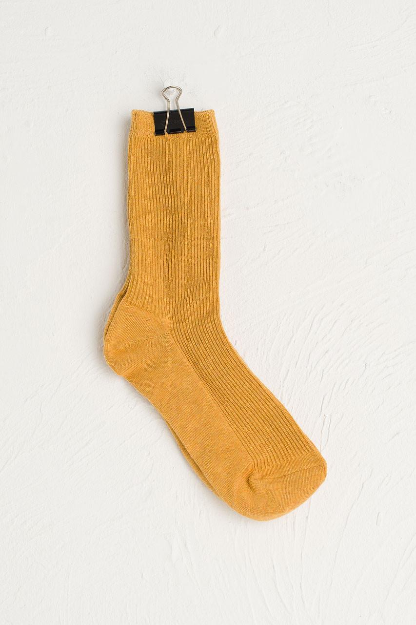 R Ribbed Socks, Mustard