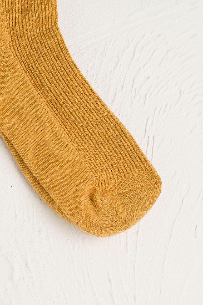 R Ribbed Socks, Mustard