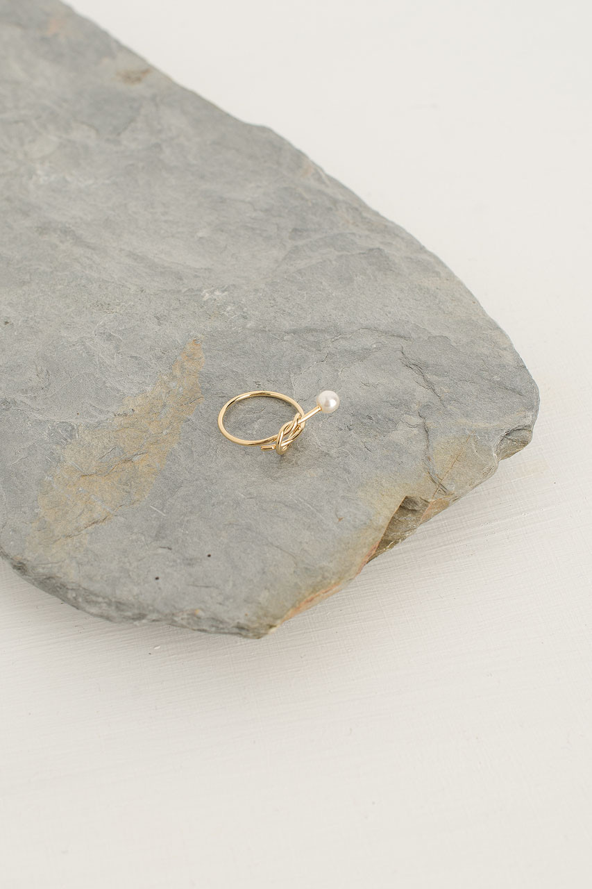 Pearl End Knot Ring, Gold Plated