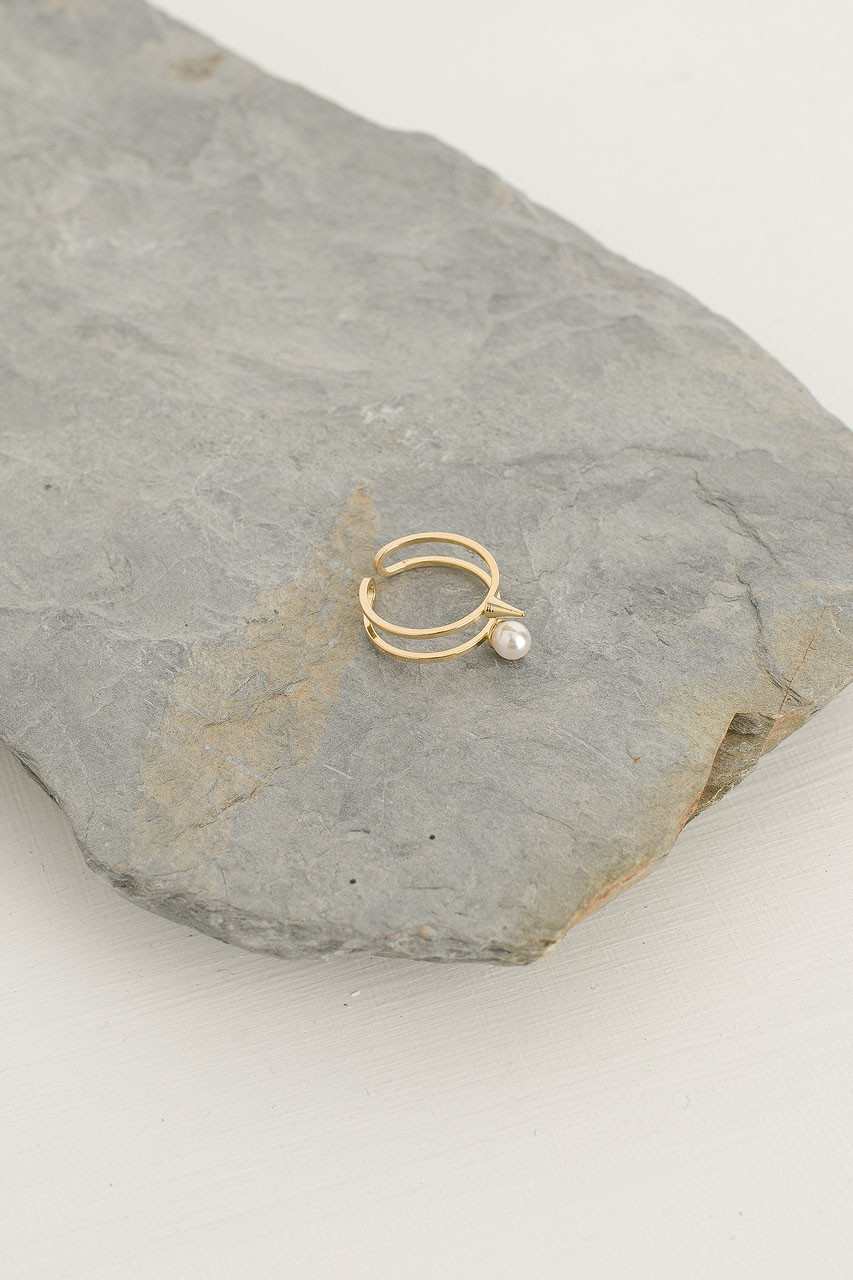 Pearl And Stud Point Ring, Gold Plated