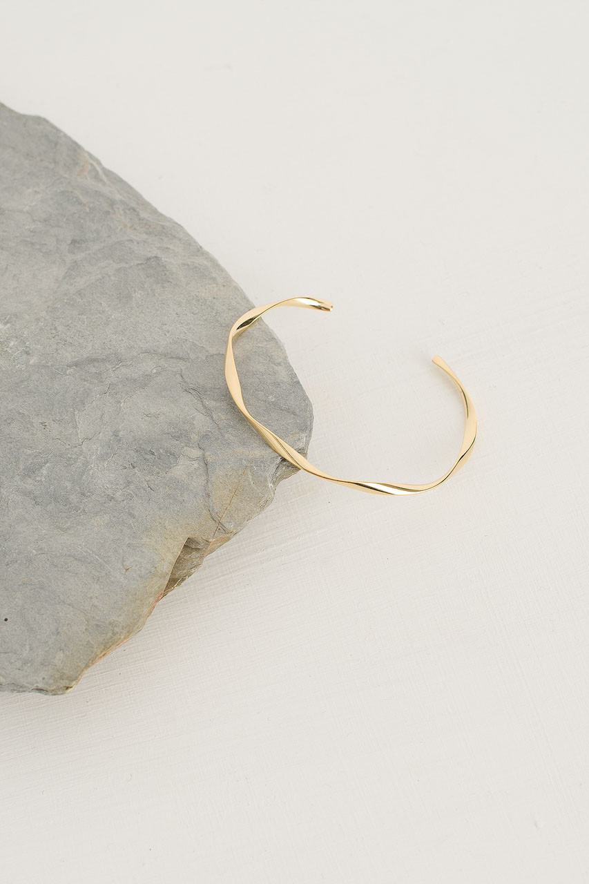 Wave Bracelet, Gold Plated