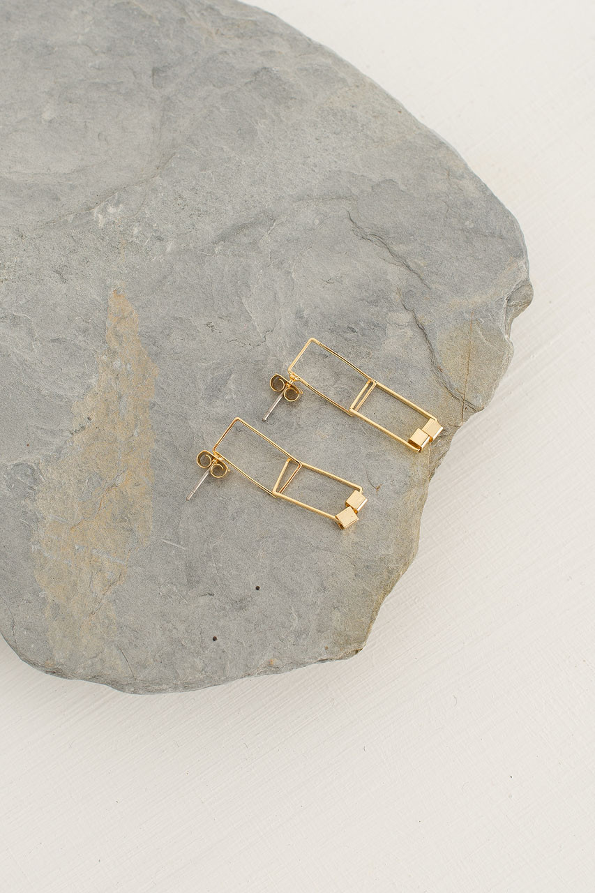 Square Drop Earrings, Gold Plated