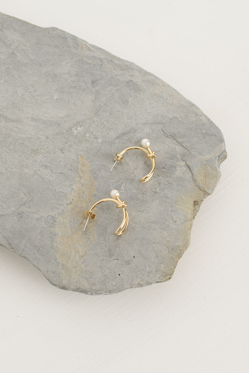 Pearl End Knot Earrings, Gold Plated