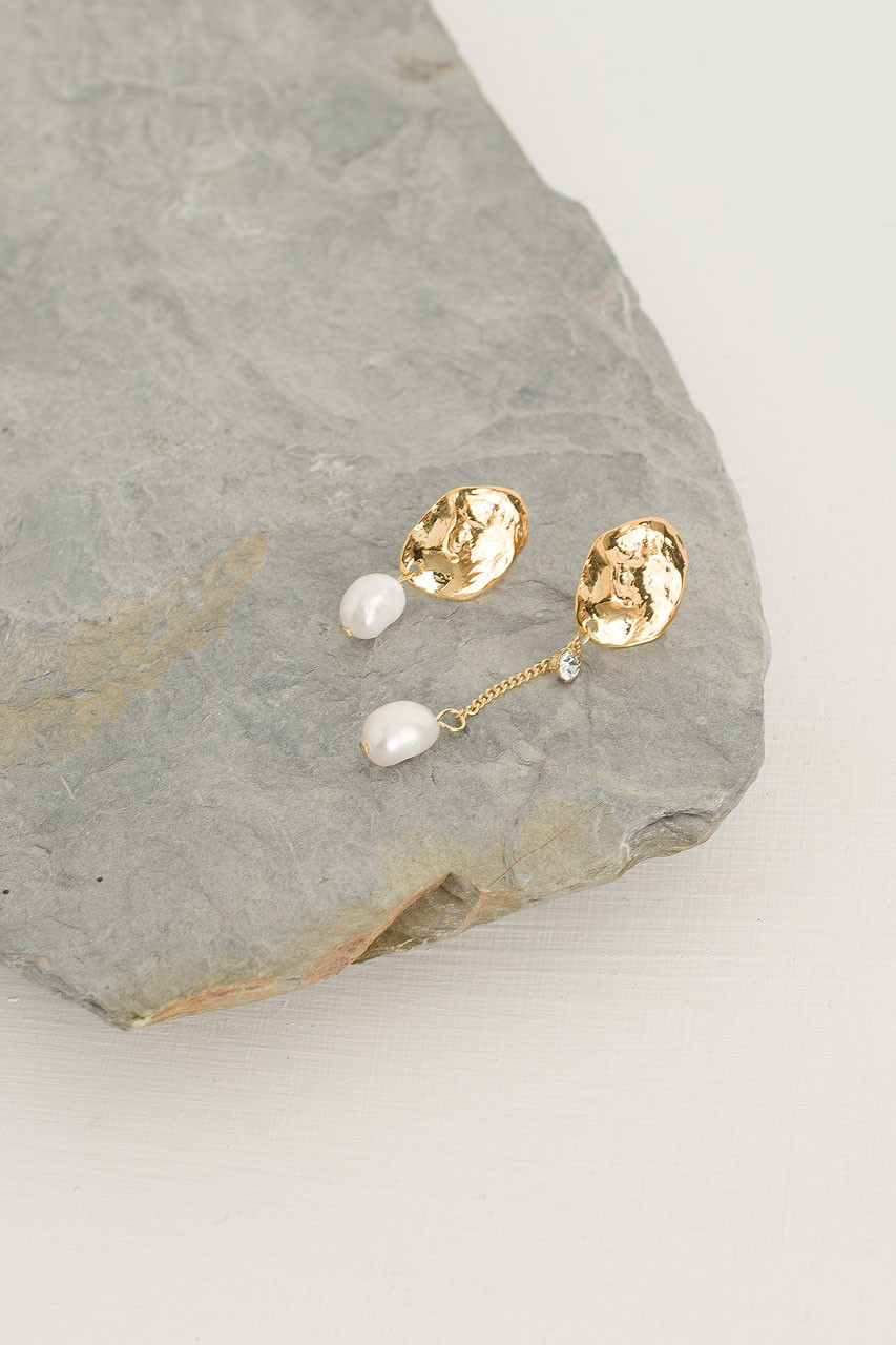 Unbalance Pearl Drop Earrings, Gold Plated