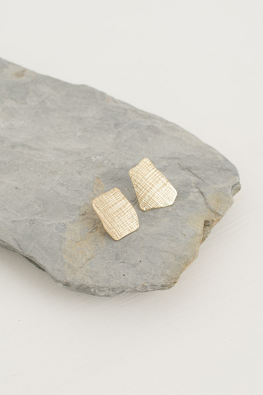 Sketch Studs, Gold Plated