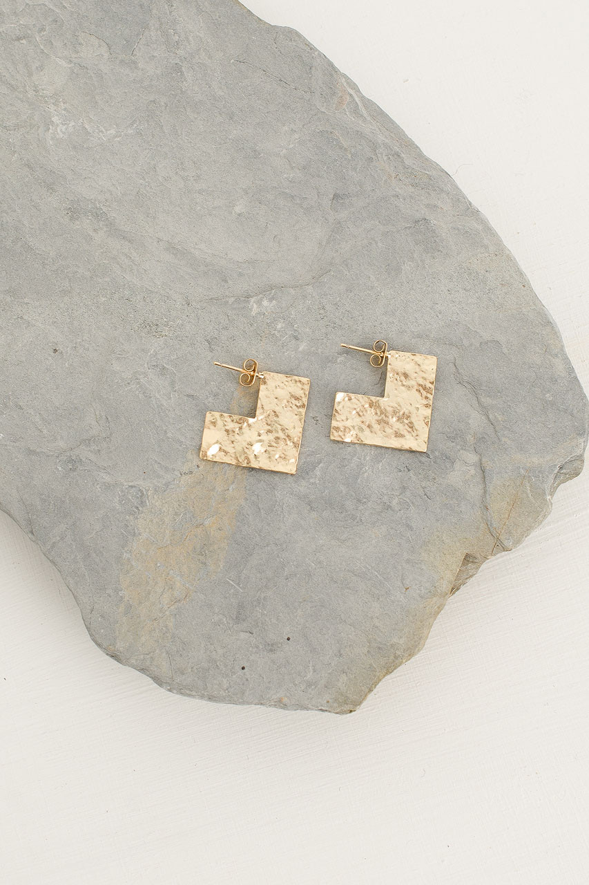 L Earrings, Gold Plated