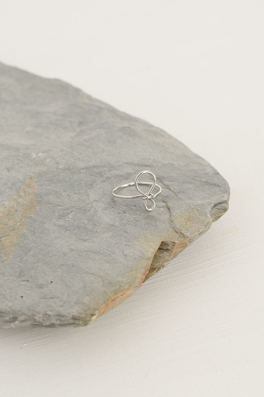 Ribbon Ring, Silver Plated