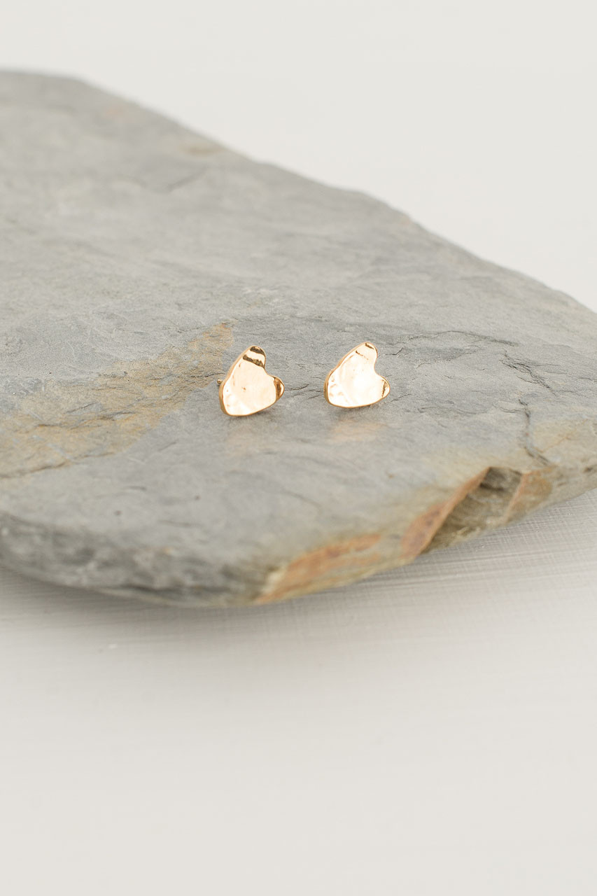 Heart Studs, Gold Plated