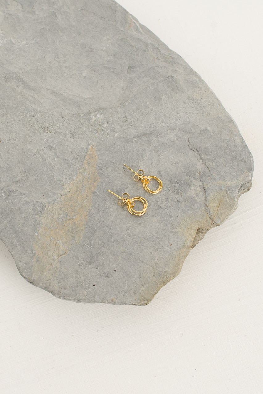 Mini Olive Hoop Earrings, Gold Plated