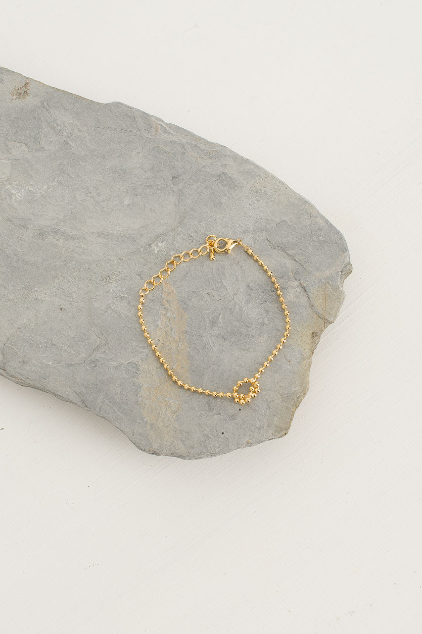 Ball Chain Knot Bracelet, Gold Plated