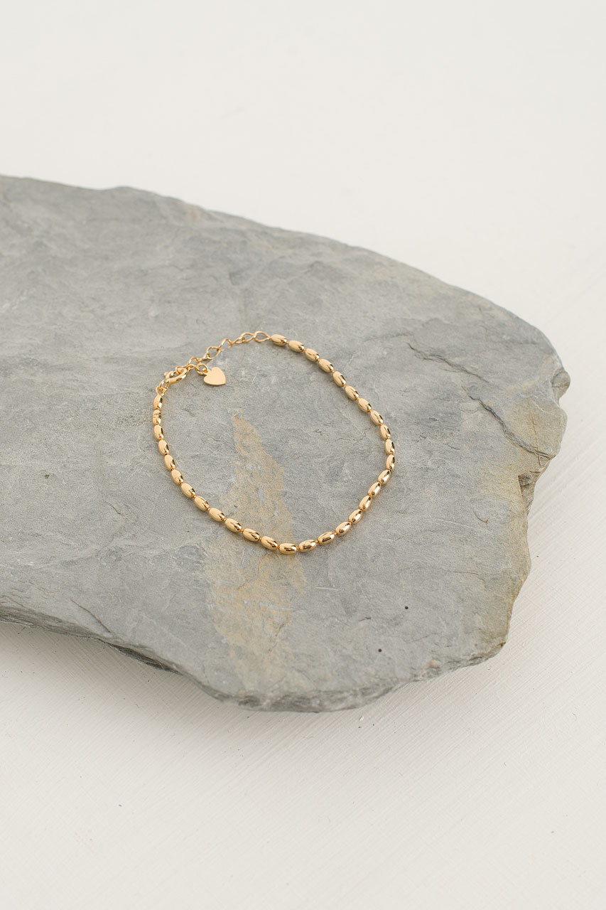Tiny Ball Chain Bracelet, 18K Gold Plated