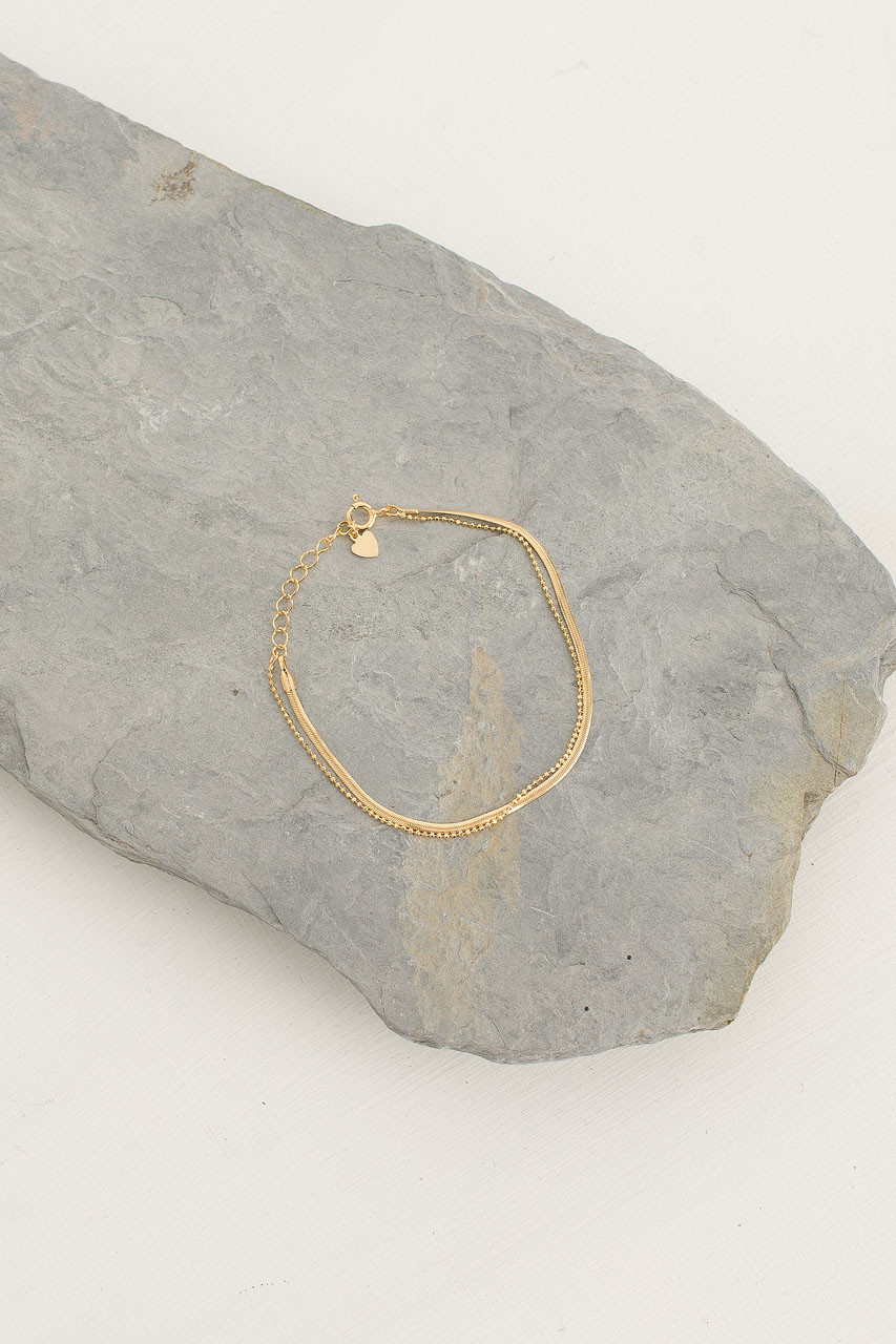 Snake Chain Bracelet, 18K Gold Plated