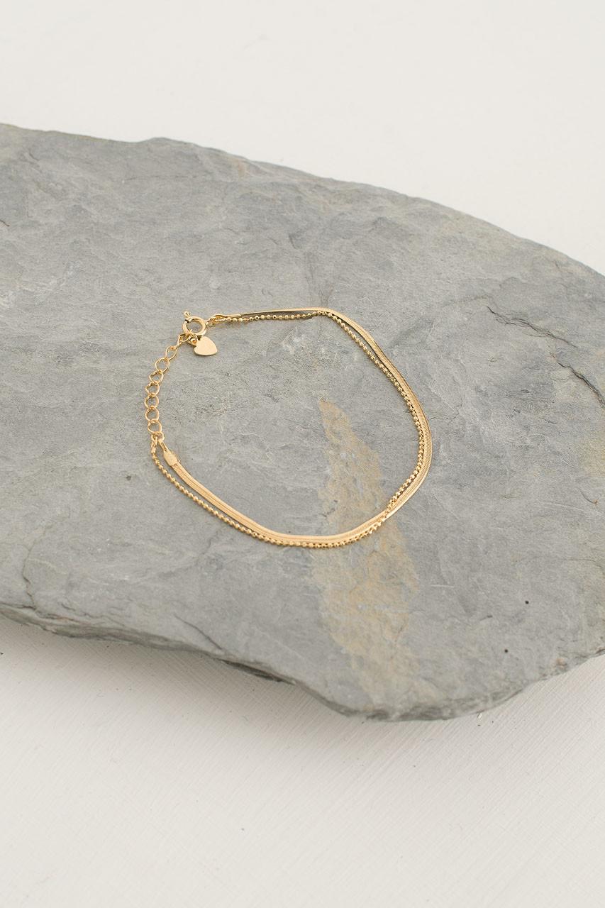 Snake Chain Bracelet, 18K Gold Plated