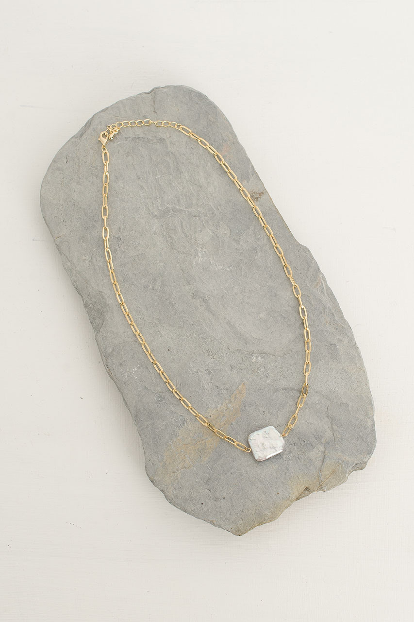 Amy Square Pearl Chain Necklace, Gold Plated