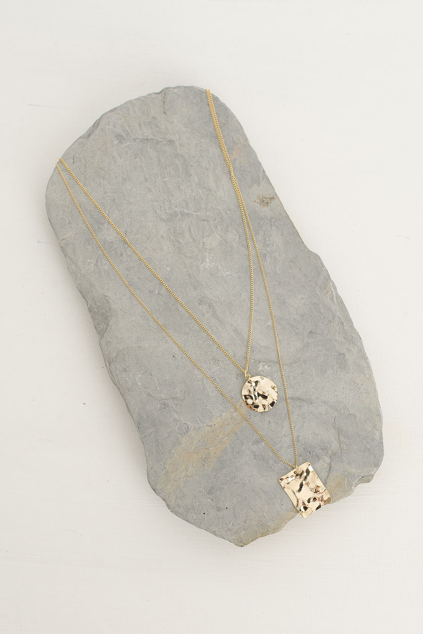 Crushed Circle And Square Necklace, Gold Plated