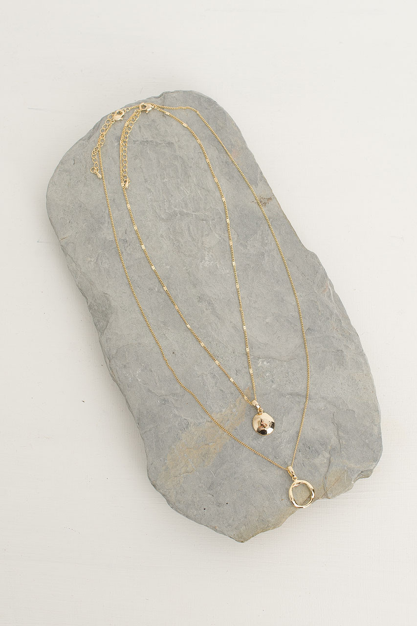 Emma Two Circle Necklace Set, Gold Plated