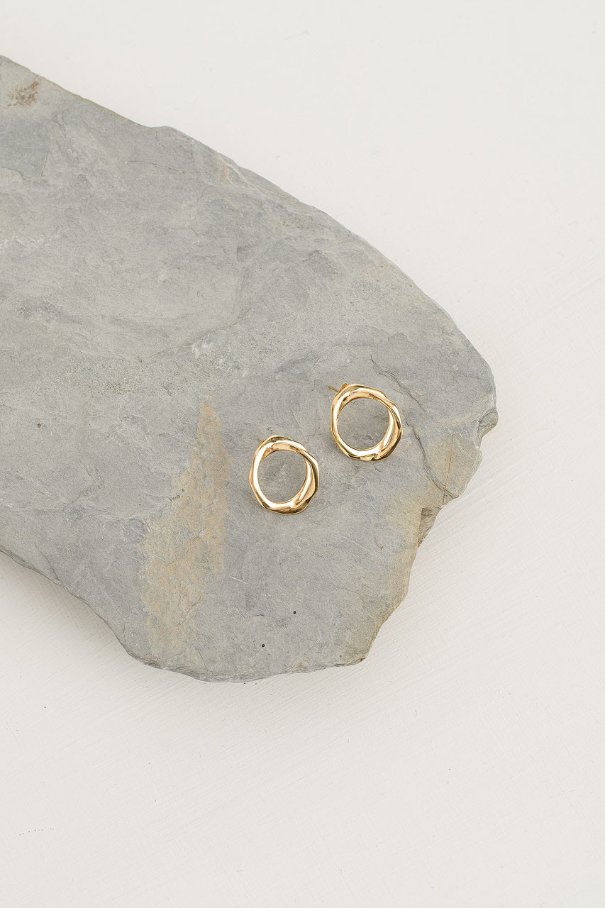 Double Circle Studs, 18K Gold Plated