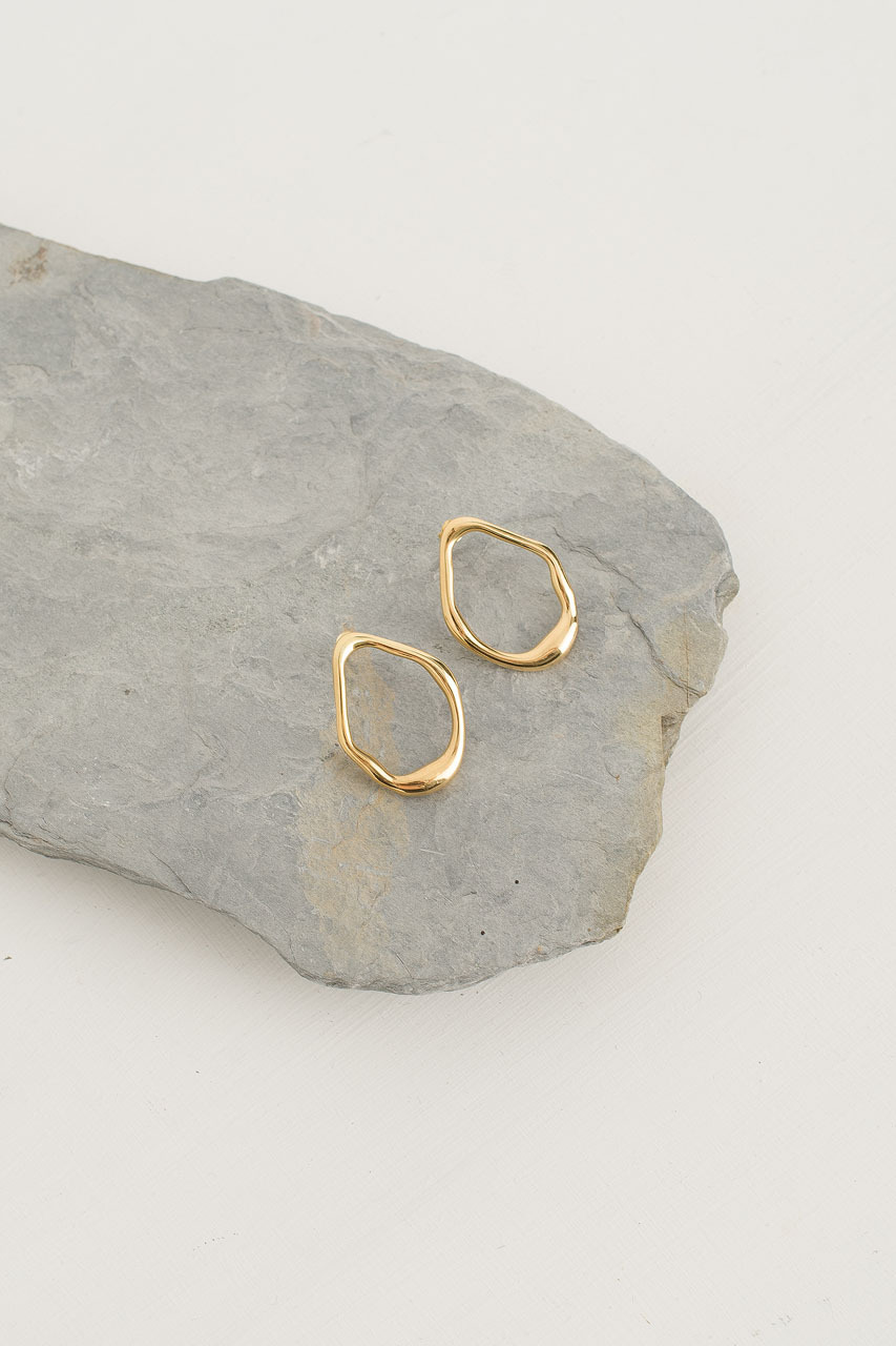 Karen Circle Studs, 18K Gold Plated
