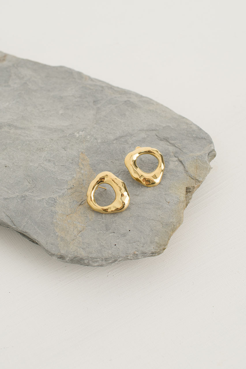 Poppy Circle Studs, 18K Gold Plated