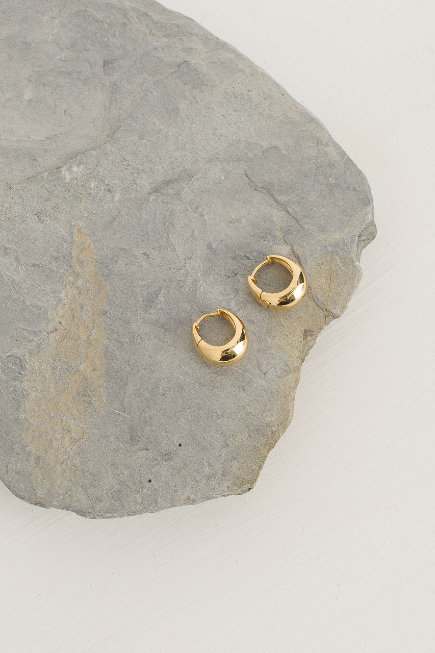 Bean Clip Earrings, 18K Gold Plated