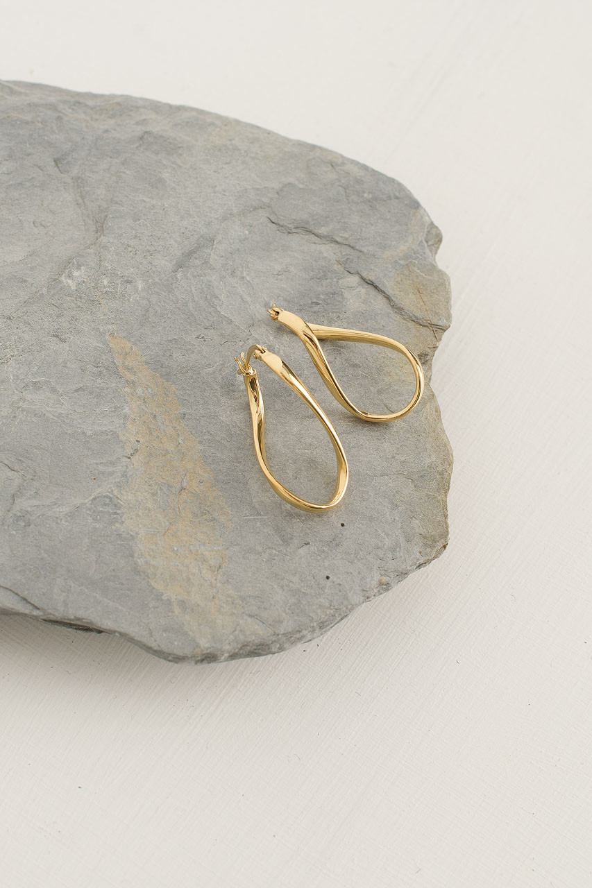 Twist Oval Earrings, 18K Gold Plated