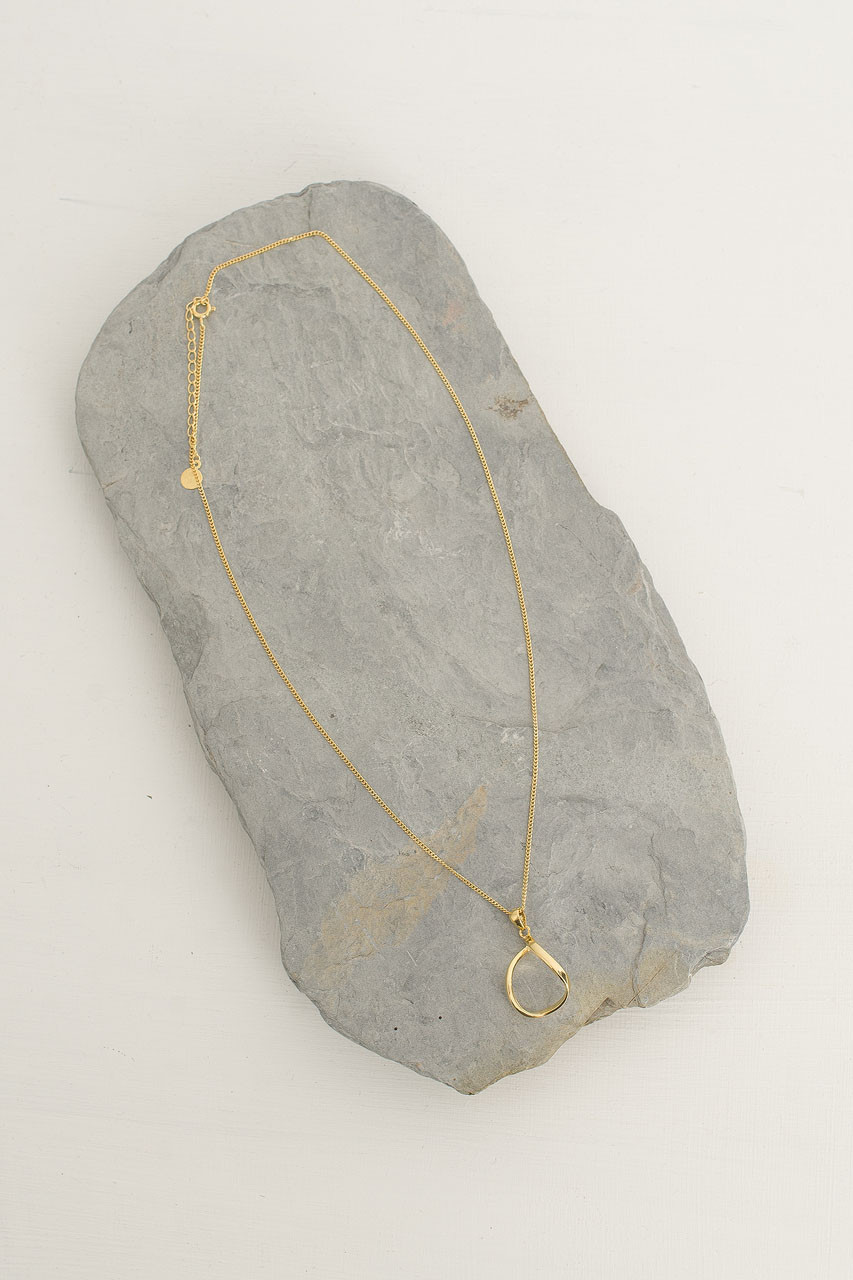 Twist Circle Drop Necklace, 18K Gold Plated