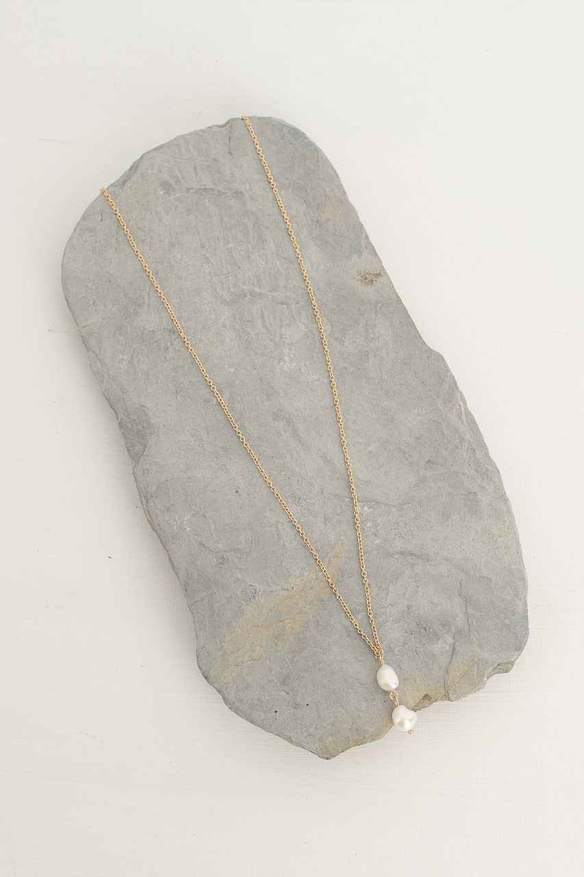 Katherine Pearl Drop Necklace, Gold Plated