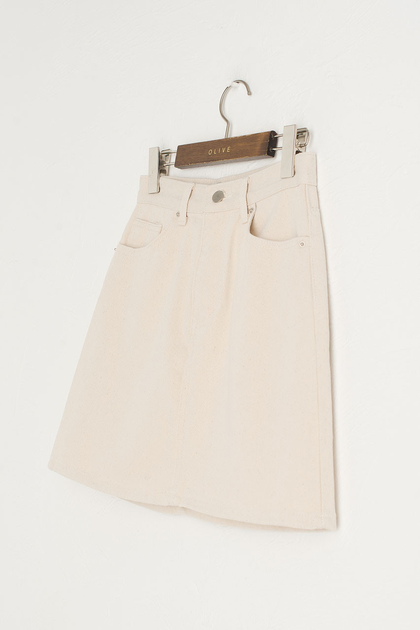 Tomo Denim Mini Skirt, Ivory