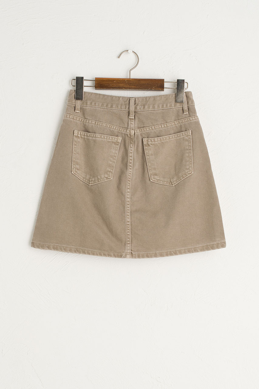 Tomo Denim Mini Skirt, Grey