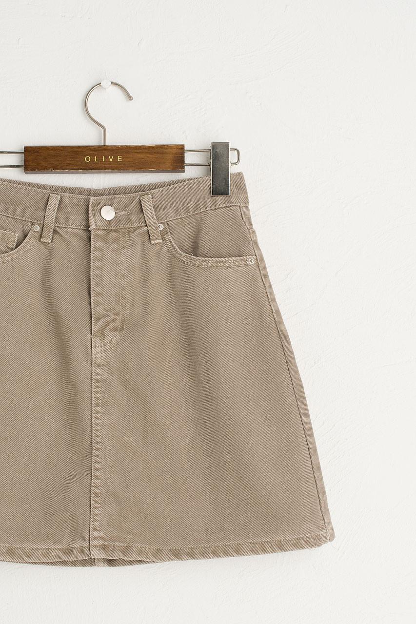 Tomo Denim Mini Skirt, Grey