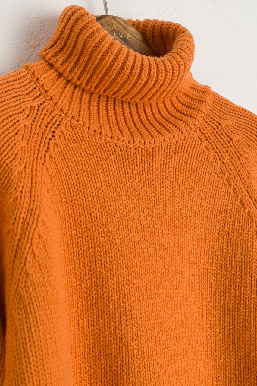 Miso Chunky Turtle Neck Jumper, Orange