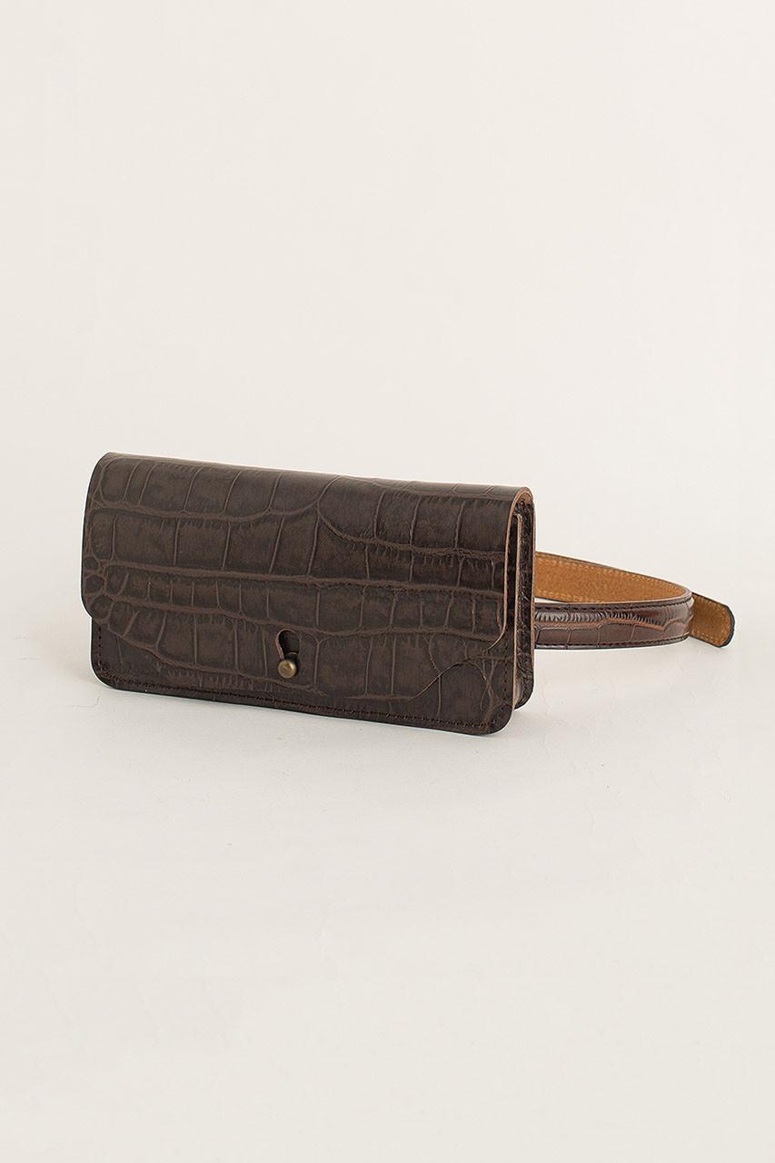 Crocodile Effect Belt Bag, Brown