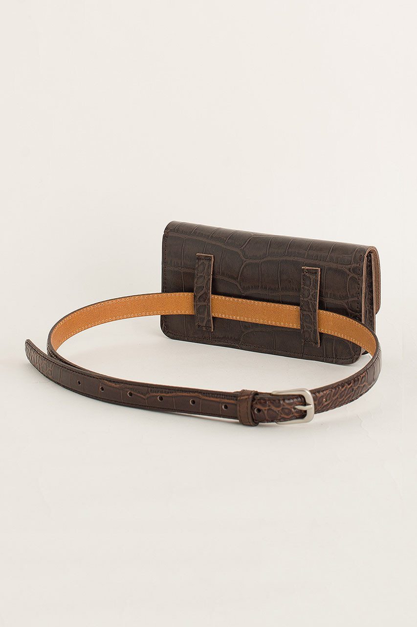 Crocodile Effect Belt Bag, Brown