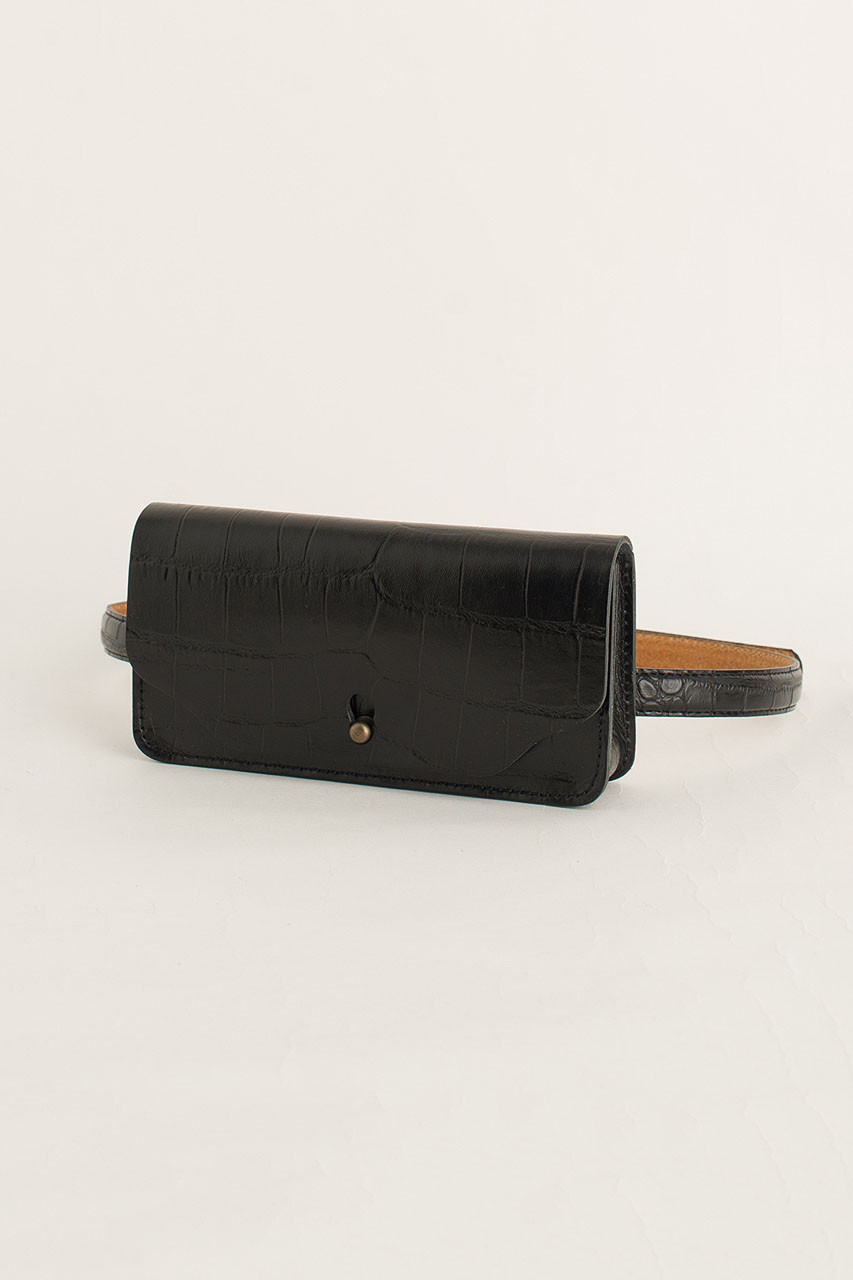 Crocodile Effect Belt Bag, Black