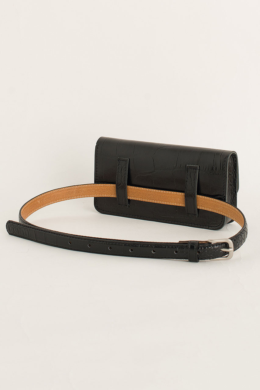 Crocodile Effect Belt Bag, Black