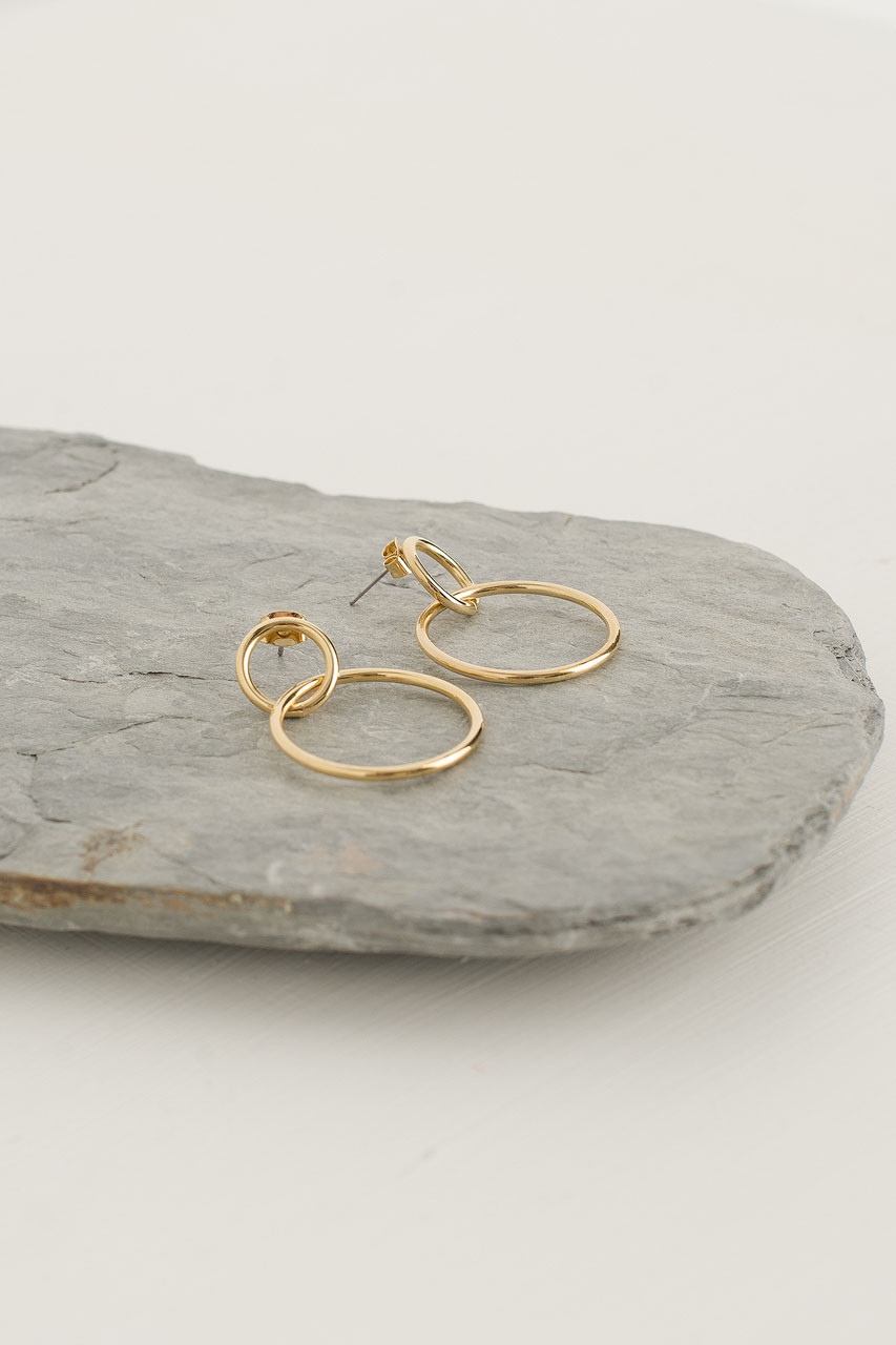 Olive Hoop Earrings, Gold Plated