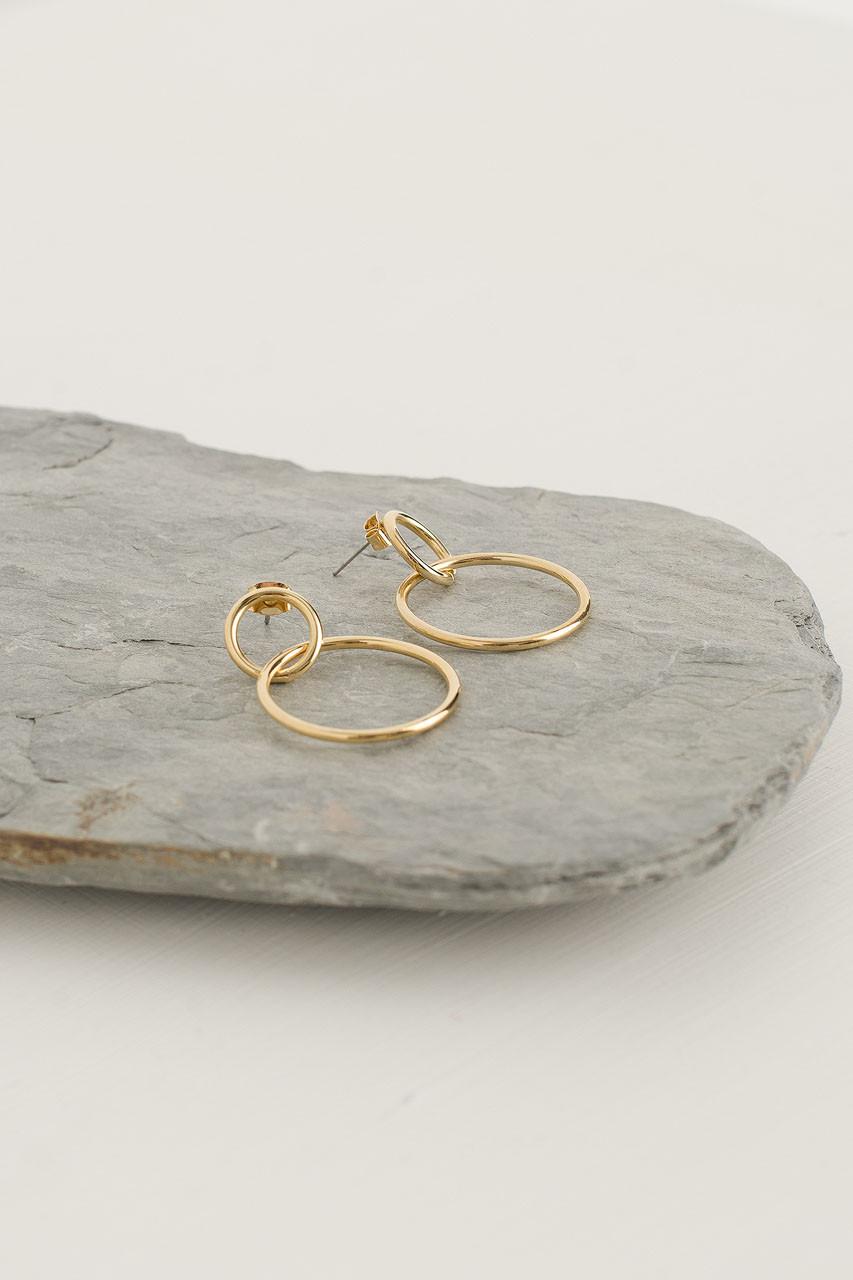 Olive Hoop Earrings, Gold Plated