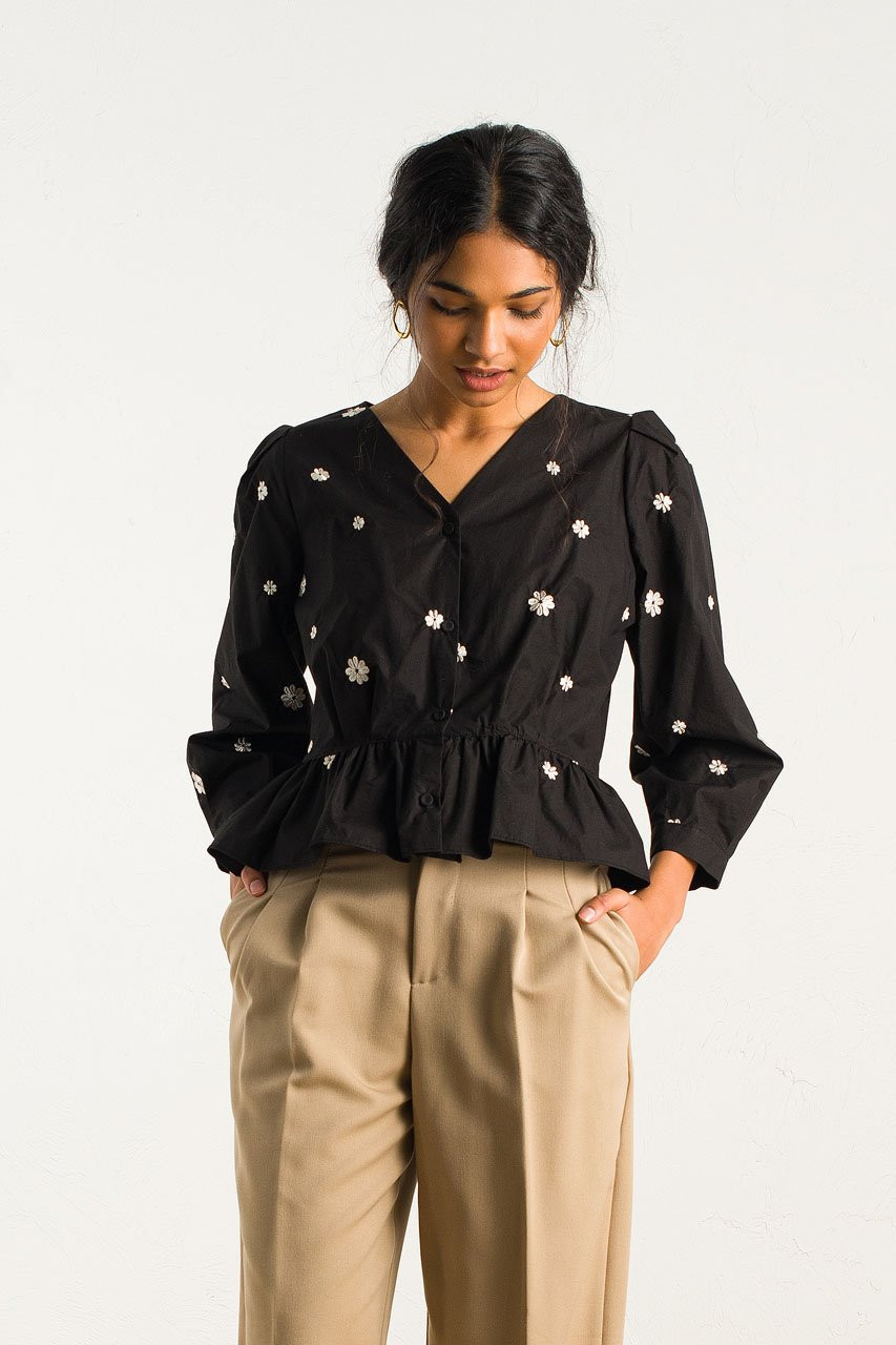 Eun Daisy Embroidery Blouse, Black