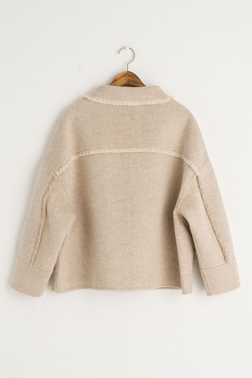 Raw Edge Mini Jacket, Beige