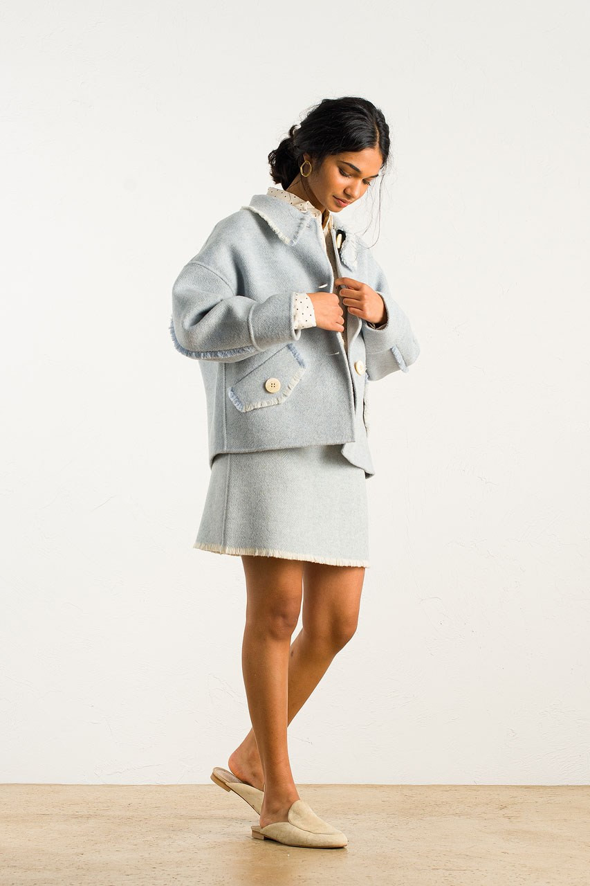 Raw Edge Mini Jacket, Blue