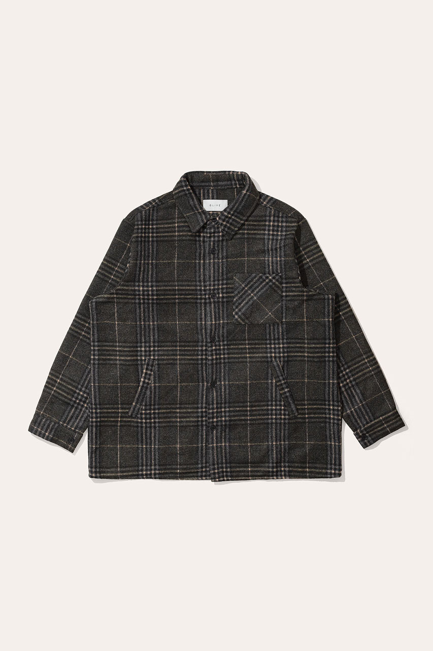 Menswear | Vern Check Overshirt, Grey