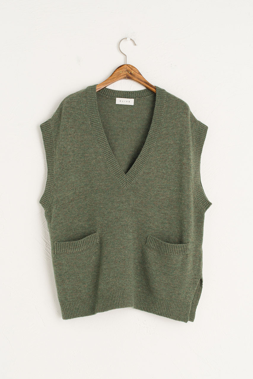 Two Pocket Simple Vest, Khaki Melange