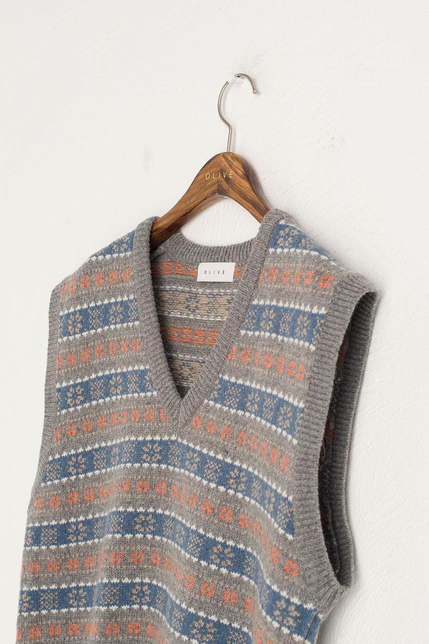 Fair Isle Knit Vest, Grey