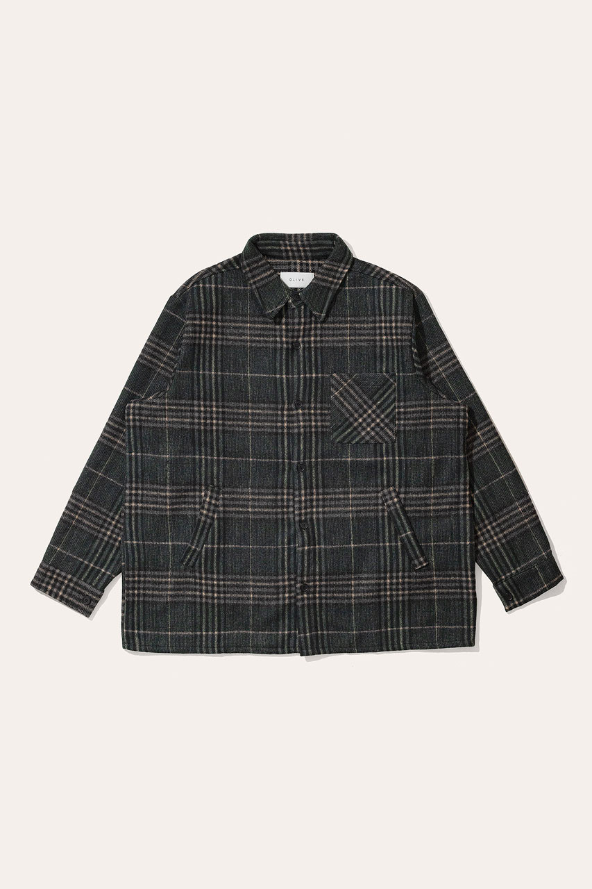 Menswear | Vern Check Overshirt, Forest