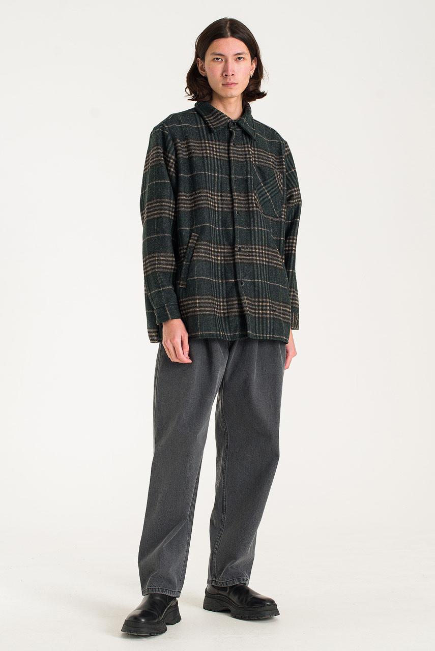 Menswear | Vern Check Overshirt, Forest